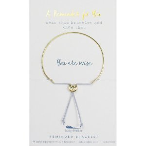 Lucky Feather 14K Gold Reminder Bracelet - You Are Wise