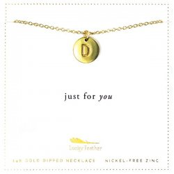 Lucky Feather 14K Gold Dipped Initial Necklace - D