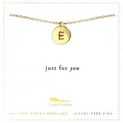Lucky Feather 14K Gold Dipped Initial Necklace - E