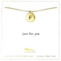 Lucky Feather 14K Gold Dipped Initial Necklace - F