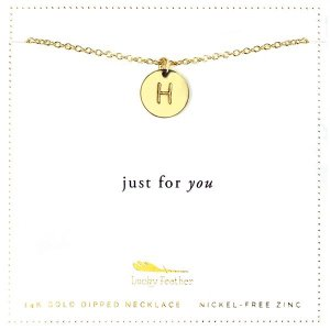Lucky Feather 14K Gold Dipped Initial Necklace - H