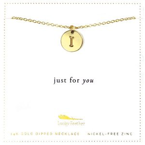 Lucky Feather 14K Gold Dipped Initial Necklace - I