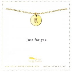 Lucky Feather 14K Gold Dipped Initial Necklace - K