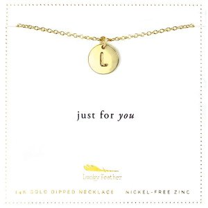 Lucky Feather 14K Gold Dipped Initial Necklace - L