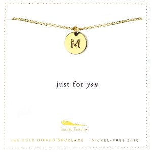 Lucky Feather 14K Gold Dipped Initial Necklace - M