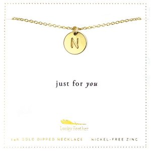 Lucky Feather 14K Gold Dipped Initial Necklace - N
