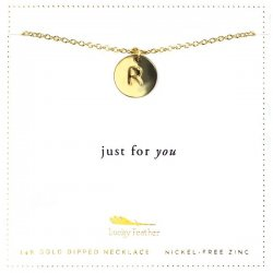 Lucky Feather 14K Gold Dipped Initial Necklace - R
