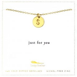 Lucky Feather 14K Gold Dipped Initial Necklace - S