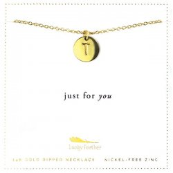 Lucky Feather 14K Gold Dipped Initial Necklace - T