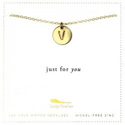 Lucky Feather 14K Gold Dipped Initial Necklace - V