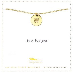 Lucky Feather 14K Gold Dipped Initial Necklace - W
