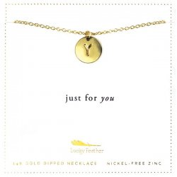 Lucky Feather 14K Gold Dipped Initial Necklace - Y