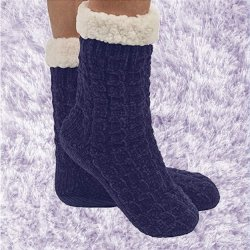 Snoozie Chenille Cable Sherpa Lined Sock - Navy