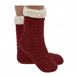 Snoozie Chenille Cable Sherpa Lined Sock - Burgundy