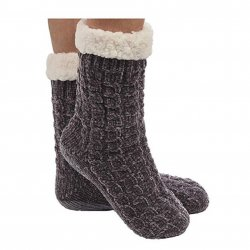 Snoozie Chenille Cable Sherpa Lined Sock - Charcoal
