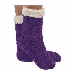 Snoozie Chenille Cable Sherpa Lined Sock - Purple