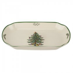 "SPODE ""Christmas Tree"" Rectangular Scalloped Tray #1667327"