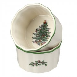 "SPODE ""Christmas Tree"" 3.5 Inch Round Scalloped Ramekins Set of 2 #1634701"