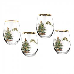 "SPODE ""Christmas Tree"" Stemless Wine Glass #1701090"