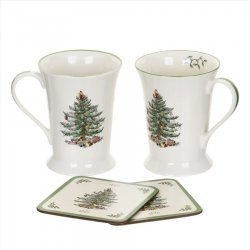 "SPODE ""Christmas Tree"" Set of 2 Mugs & Coasters #2011828338"