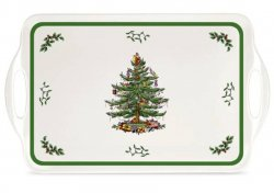 "SPODE ""Christmas Tree"" Large Melamine Handled Tray #2019518338"