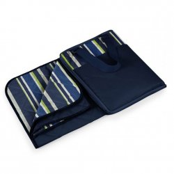 Picnic Time Vista Zip Blanket - Navy Stripe