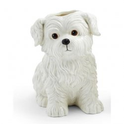 Two's Company Westie Dog Hand Painted Ceramic Vase