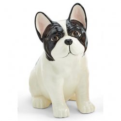 Two's Company Frenchie Dog Hand Painted Ceramic Vase