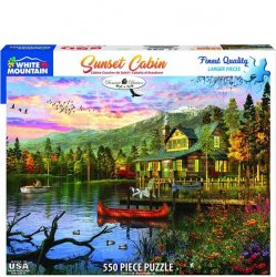 White Mountain 550 pc Puzzle - Sunset Cabin