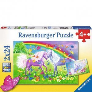 Ravensburger Two 24 PC Puzzles - Rainbow Horses