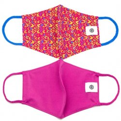 Face Mask 2 Pack - Butterflies and Fuchsia Solid