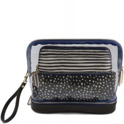 3 PC Cosmetic Bag Set - Stripe and Dot