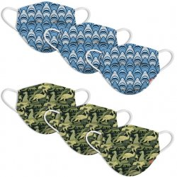 Kids 6 Pack Face Mask - Shark Frenzy & Dino Camo