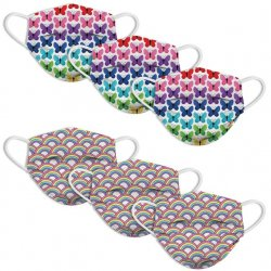 Kids 6 Pack Face Mask - Butterfly & Rainbow