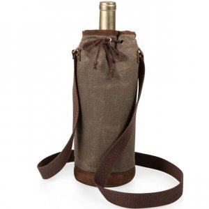 Single Wine Bottle Tote - Khaki Green
