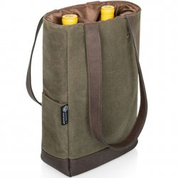 Double Wine Bottle Tote - Khaki Green