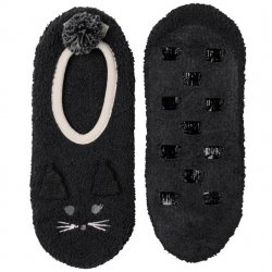 Marshmallow Footlet with Grippers - Black Cat