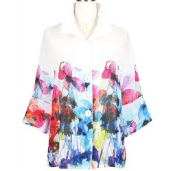 Watercolor Floral Print on White Linen