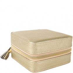 Travel Square Jewelry Case - Gold