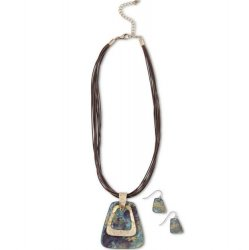 """16"""" Rope Necklace with 3 Tiered Patina Pendant - Aqua"""