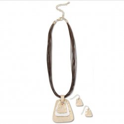 """16"""" Rope Necklace with 3 Tiered Patina Pendant - Cream"""