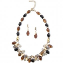 """Black and Brown Agate Stone Bead 18"""" Necklace"""