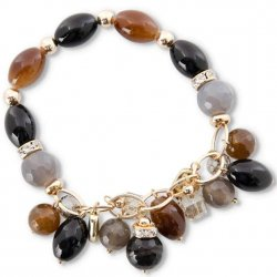 Black and Brown Agate Stone Bead Bracelet