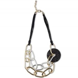 """18"""" Necklace Multi-Strand Black Cord with Glitter Disk and Gold/Silver Chain"""