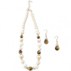 """18"""" Pearl and Catseye Bead Necklace"""