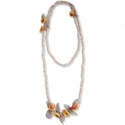 """60"""" Taupe Crystal Beads with Mustard Petal Flowers Necklace"""