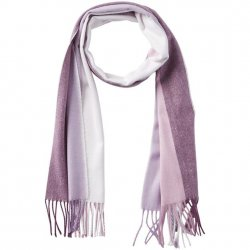 Soft Knit Ombre Stripe Scarf with Fringe - Purple