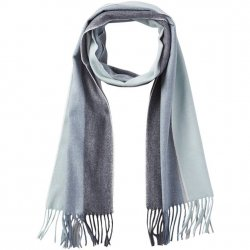Soft Knit Ombre Stripe Scarf with Fringe - Teal