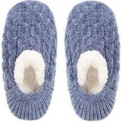 Chenille Cable Soft Slippers - Denim