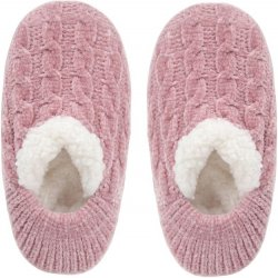 Chenille Cable Soft Slippers - Pink